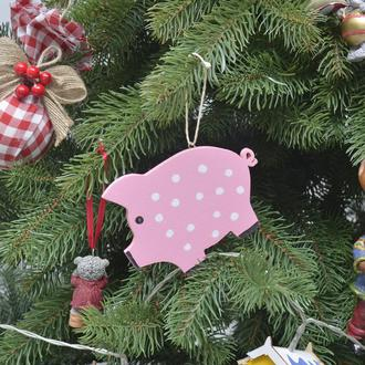 новогодняя игрушка символ года 2019 хрюшка свинья свинка из дерева