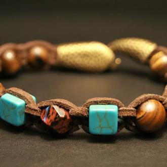 Браслет шамбала из натуральных камней бирюза, тигровый глаз, обсидиан