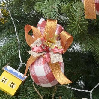 Новогодние украшения шары слои ручной работы Тканяні Эксклюзив