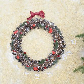 Большой новогодний рождественский венок из шишек эко продукт