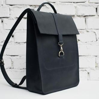 Женский/мужской кожаный рюкзак синего цвета