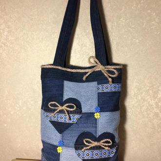 Джинсовая сумка-шоппер в стиле «пэчворк»