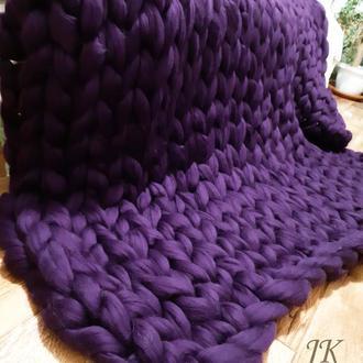 """Плед """"Фиолет"""" из толстой мериносовой шерсти"""