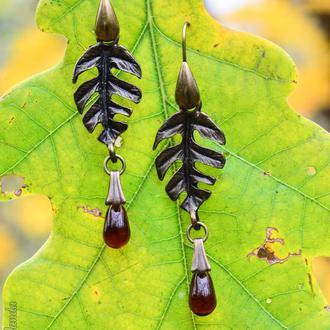 Осенний полдень - серьги листья с капельками из чешского стекла (в наличии 1 пара больше не будет)