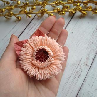 Милая хризантема из фоамирана на резинке, Цветы на резинке, цветы для волос