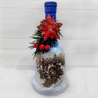 Подарок на новый год 2019 оформление бутылки Новогодний колокольчик