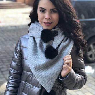 "Шарф-бактус ""Эдинбург"", зимний женский шарф, большой женский шарф, подарок женщине"