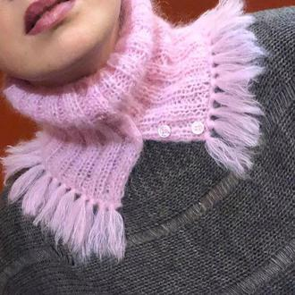Зимний шарф мини-снуд, женский зимний шарф, теплый женский шарф, подарок женщине