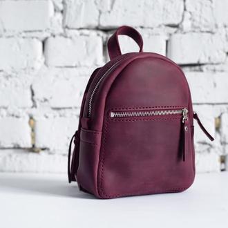 Женский кожаный рюкзак BABY Backpack (бордовый)