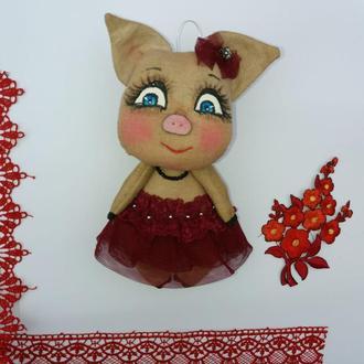 Текстильная свинка. Идея подарка к праздникам