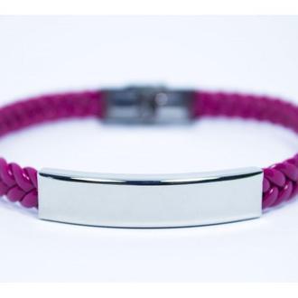 Кожаный плетеный браслет PINK с гравировкой
