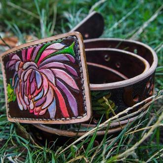 Женский кожаный ремень хризантемы, ремень женский, ремень с цветами, ремень с тиснением