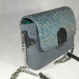 Валяная сумочка Cloud, серая сумочка с кожаной ручкой через плечо