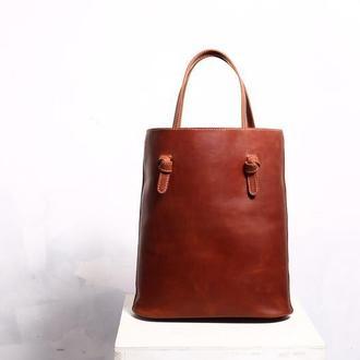 Женская кожаная сумка Kris рыжего цвета