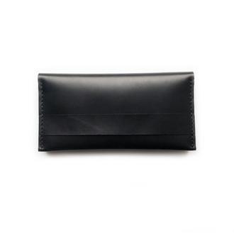 Женский/мужской кожаный кошелек черного цвета