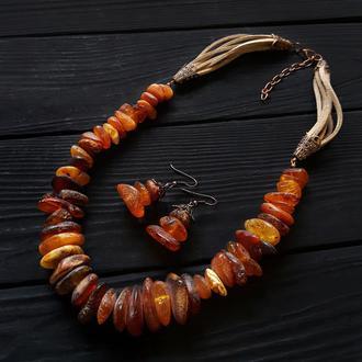 Комплект з натурального бурштину колье из янтаря бусы из янтаря подарок на новый год