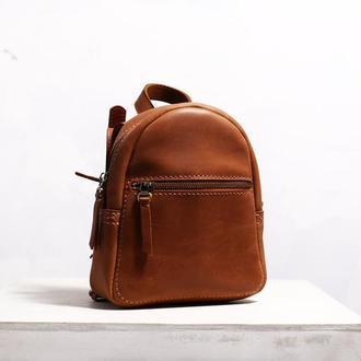 Женский кожаный рюкзак BABY Backpack рыжего цвета