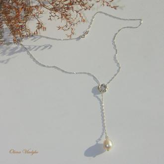 "Серебряное колье с жемчугом ""Leyla"", ювелирное колье, кулон с жемчугом, подарок"