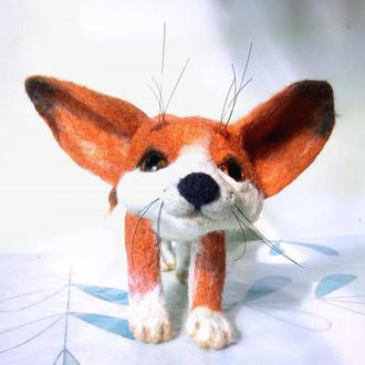 фенек пустынная лиса войлочная игрушка валяная игрушка фенек игрушки из шерсти