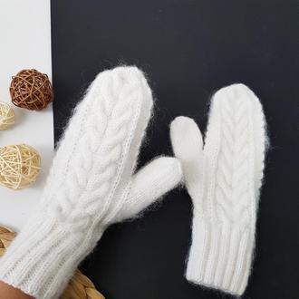 Bregoli design белые пушистые одинарные варежки мохер меринос шерсть ручная работа в наличии