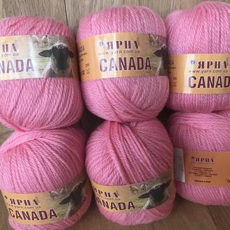 Пряжа Канада 70% шерсть (цвет розовый фламинго)