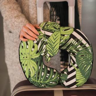 Двухсторонняя подушка для путешествий, дорожная подушка, в дорогу из плюша и хлопка - листва