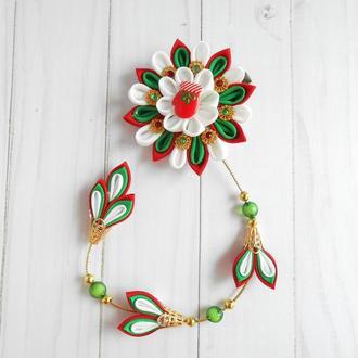 Подарок на Новый год девочке Рождественская заколка канзаши Украшение из репсовых лент