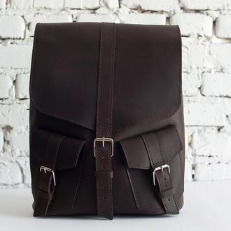 Кожаный женский/мужской рюкзак Marvel (коричневый)