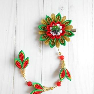 Заколка для волос Подарок на Новый год для девочки Украшение канзаши на Рождество из репсовых лент