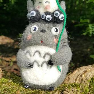Валяная интерьерная игрушка из Шерсти Тоторо