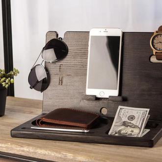 Настольный органайзер из дерева для телефона подарок для девушки подарок парню аксессуары в офис