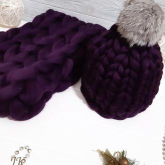 """Комплект """"Фиолет"""" шапка и снуд из толстой мериносовой шерсти"""