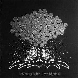 Денежное дерево. Богатство и изобилия. Акриловая живопись с монетами. 30*30 см. ДСП 3 мм
