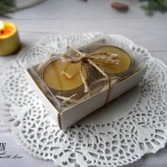 Набор 2 чайные свечи из пчелиного воска  и гасильник для свечей.