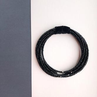 Колье чокер из бусин хрусталя черным цветом