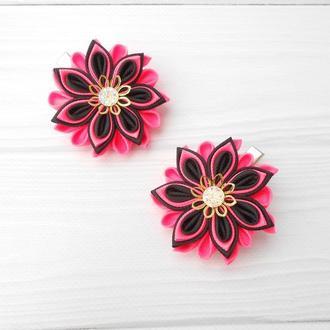 Набор заколок с цветами Подарок для девочки на день рождение Украшение для волос зажимы канзаши