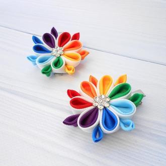 Набор заколок с цветами Подарок для девочки на Новый год Украшение для волос зажимы канзаши