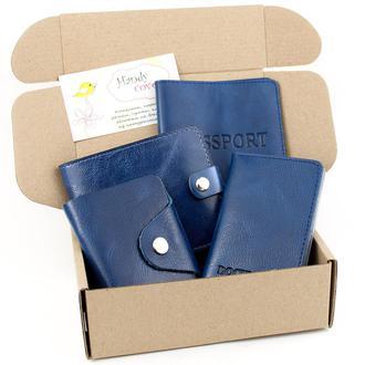 Подарочный набор №7 (синий): обложка на паспорт, права + картхолдер + портмоне П1