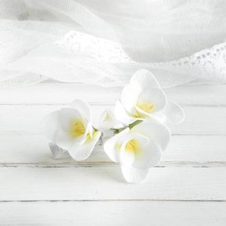 Заколка с цветами белой фрезии, Свадебная заколка для волос, Подарок девушке