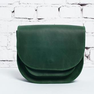 Женская кожаная сумка Solo через плечо, зеленого цвета