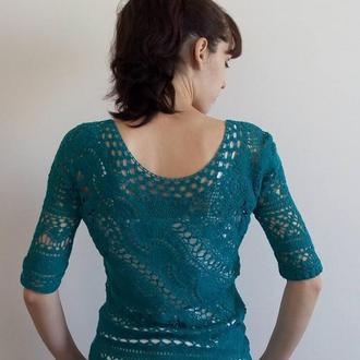 Свитер, пуловер ручной работы, вязаный крючком