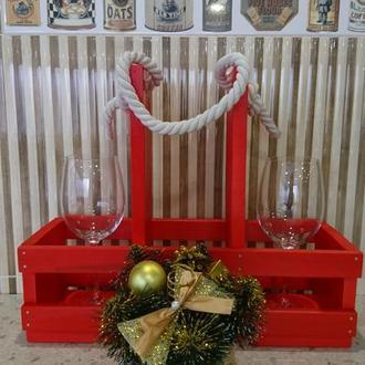 Деревянная подставка для 2 бокалов и вина