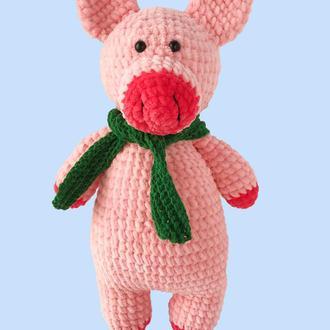 Вязаная плюшевая свинка, новогодняя игрушка свинья