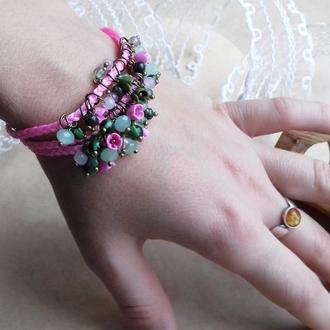 Розовый браслет, браслет с цветами, браслет с миниатюрными цветами
