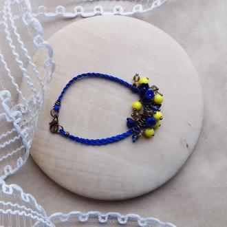 Желто синий браслет с цветами, цветочное украшение, украшение на руку, подарок девушке