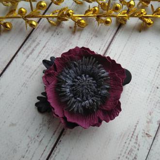 Анемон из фоамирана на заколке, заколка для волос, заколка с цветами