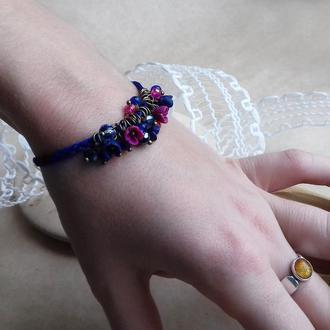 Браслет с малиновыми цветами, цветочное украшение, украшение на руку, подарок девушке