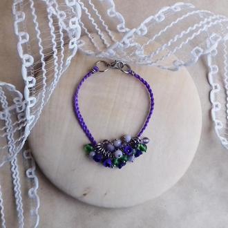 Фиолетовый браслет с цветами, цветочное украшение, украшение на руку, подарок девушке