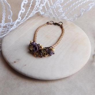 Горчичный браслет с цветами, цветочное украшение, украшение на руку, подарок девушке