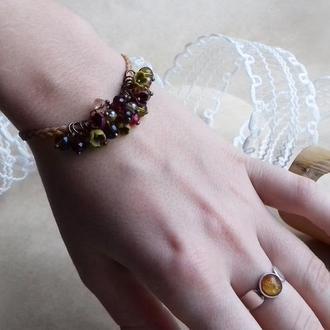 Бордово оливковый браслет с цветами, цветочное украшение, украшение на руку, подарок девушке